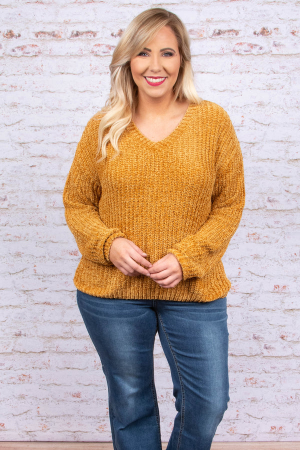 sweater, long sleeve, cable knit, vneck, comfy, short, mustard, fall, winter