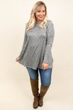 tunic, long sleeve, elbow patches, long, flowy, heather gray, comfy, fall, winter