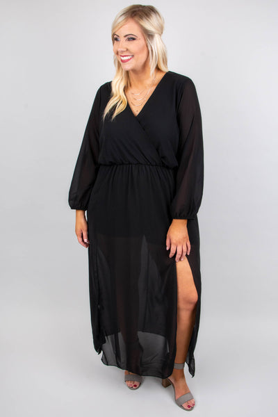 dress, maxi, long sleeve, sheer sleeves, sheer skirt, vneck, wrap top, flowy, tie back, black, comfy