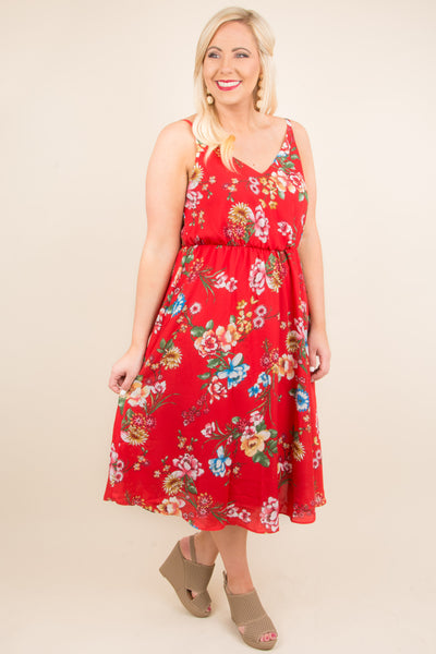 Blooms From Within Dress, Red