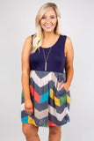 dress, short, sleeveless, scoop neck, chevron, navy, multicolor, summer, spring