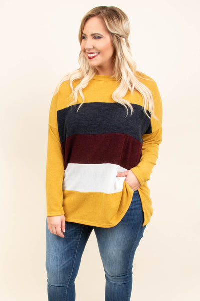 top, long sleeve, mustard, charcoal, ivory, burgundy, color block
