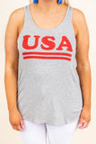 Born In The USA Tank, Heather Gray