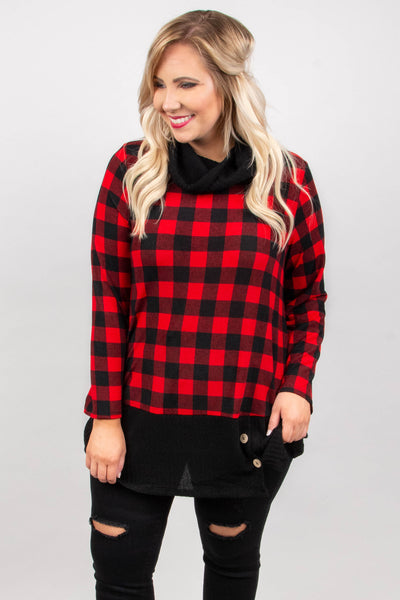 tunic, long sleeve, cowl neck, loose, long, curved hem, button detail, black accents, plaid, red, comfy