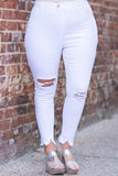jeans, skinny, ankle length, zigzag ankle rip, white, ripped knees