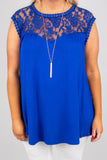 shirt, cap sleeve, lace top, flowy, blue, comfy
