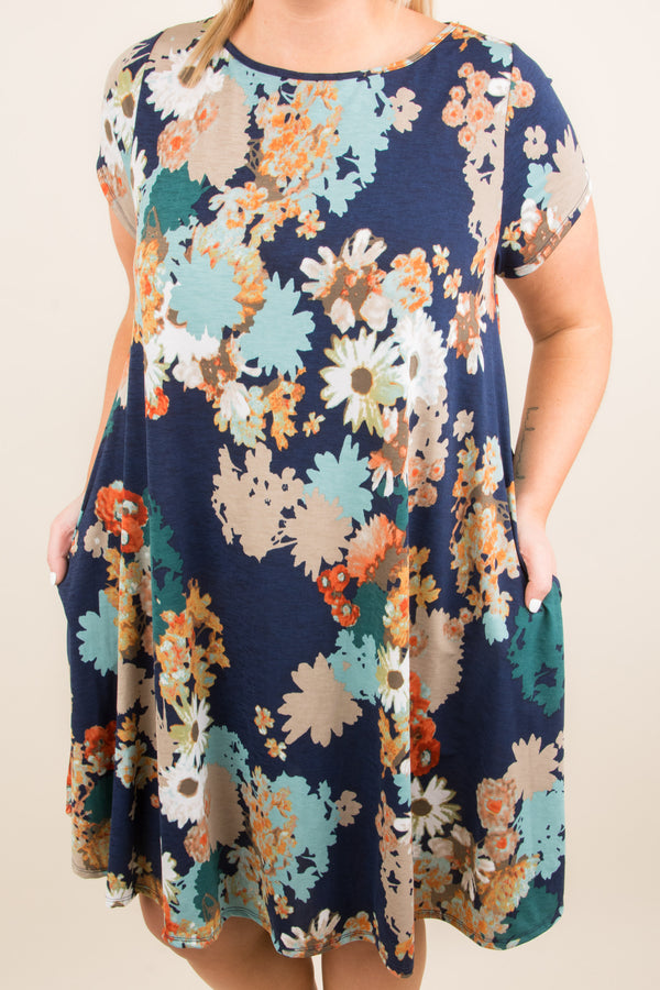 Color My World Dress, Navy-Mint