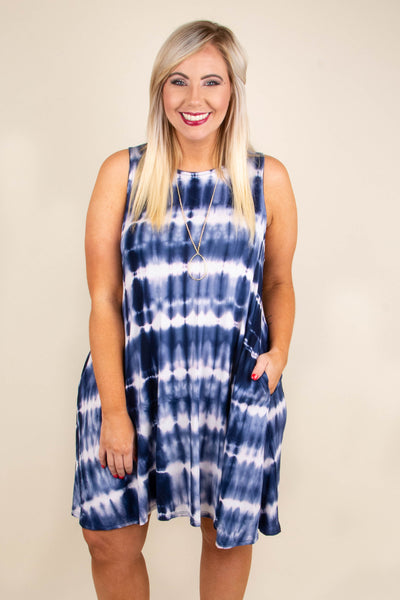 dress, tank top, pockets, short, flowy, white, tie dye, stripe, navy
