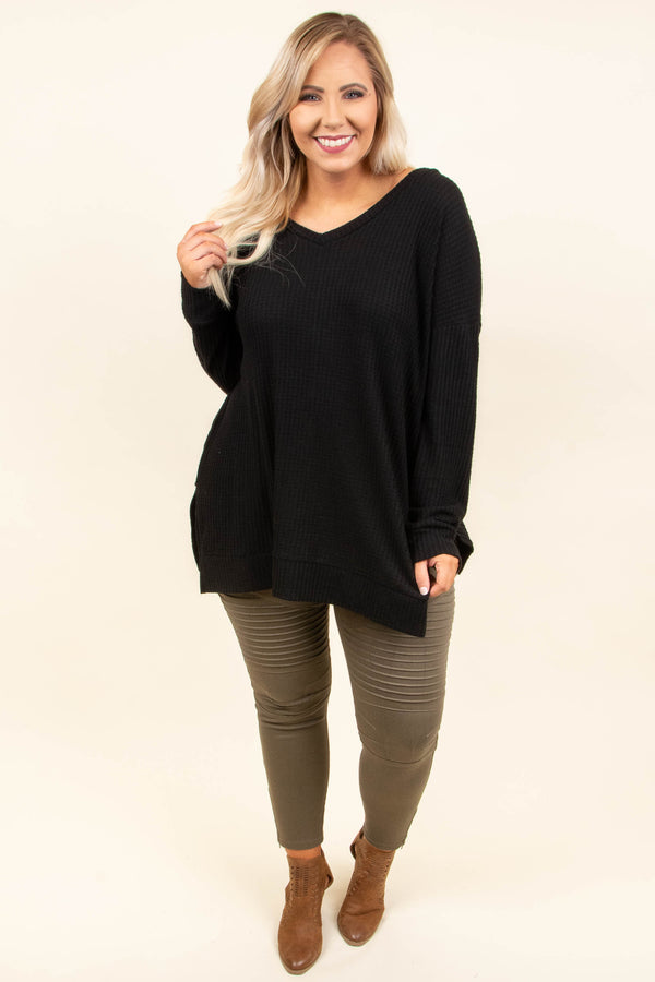 tunic, long sleeve, vneck, long, side slits, ribbed, black, comfy, fall, winter