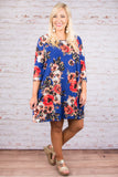Floral Envy Dress, Cobalt