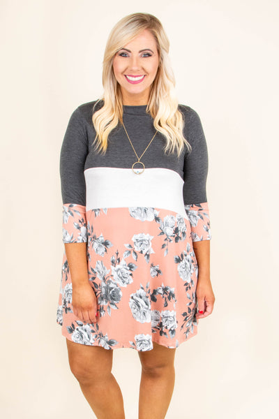 dress, baby doll, color block, grey, white, floral, pink, three quarter sleeve