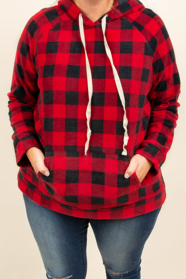 hoodie, long sleeve, drawstrings, hood, front pocket, red, black, plaid, comfy, fall, winter, outerwear