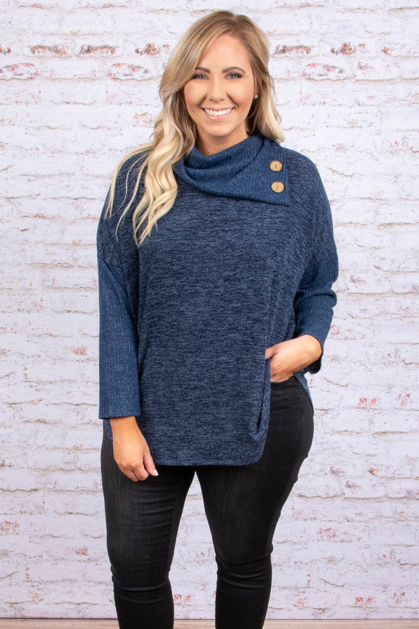 sweater, long sleeve, cowl neck, button neckline, flowy, navy, heathered, comfy, fall, winter