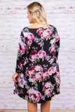 dress, three quarter sleeve, short, pockets, flowy, black, floral, pink, purple, white, green, comfy, fall, winter