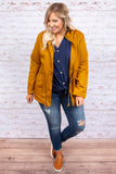 jacket, long sleeve, zippered, pockets, hood, drawstring waist, mustard, solid, outerwear, fall, winter