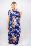 April Showers Maxi Dress, Royal-Orange