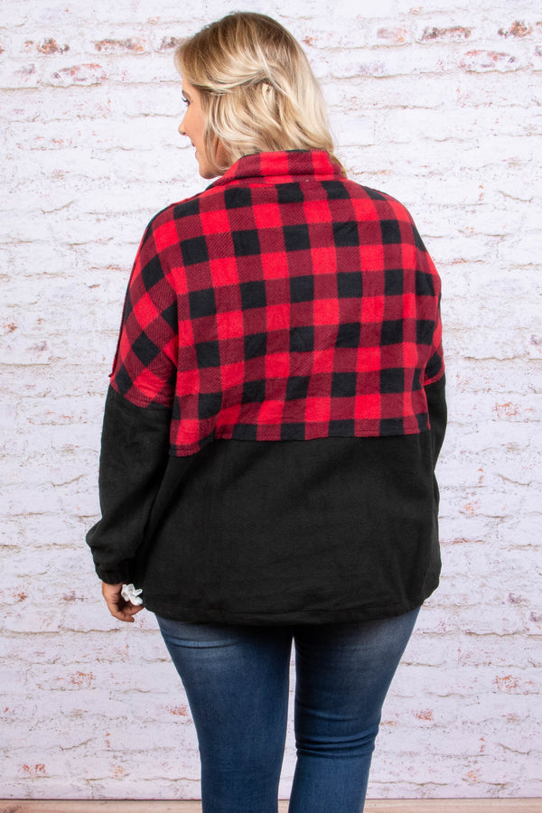 pullover, long sleeve, quarter zip, front pocket, black, red, plaid, colorblock, comfy, fall, winter