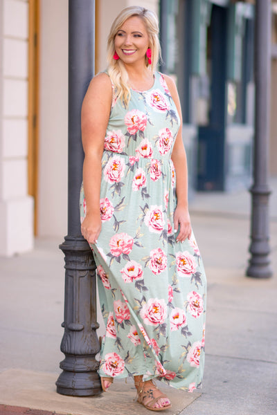 dress, maxi, tank top, pockets, sage, floral print, pink