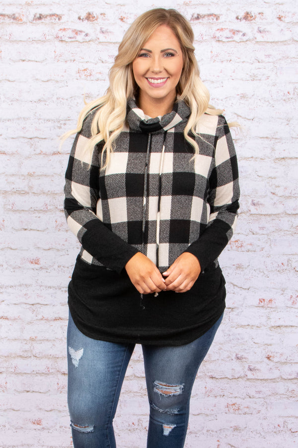 sweater, pullover, cowl neck, drawstring collar, black, white, plaid, form fitting, outerwear, cozy, comfy, fall, spring