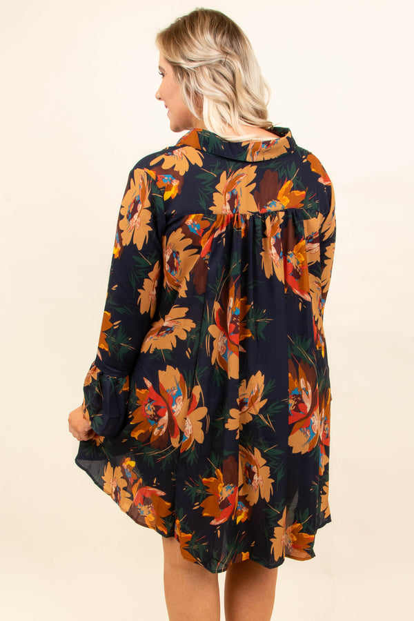 dress, short, long sleeve, vneck, flowy, navy, floral, orange, green, comfy