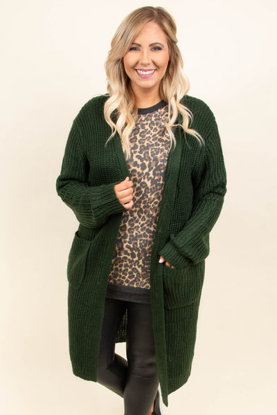 top, cardigan, green, long sleeve, cozy, knee length