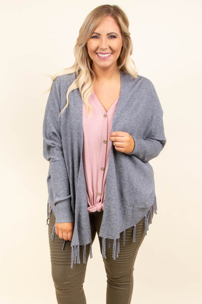 Don't Waste A Moment Cardigan, Gray