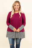 top, tunic, black, red, striped, long sleeve, scoop neck
