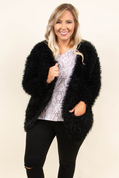 Got A Fuzzy Feeling Cardigan, Black