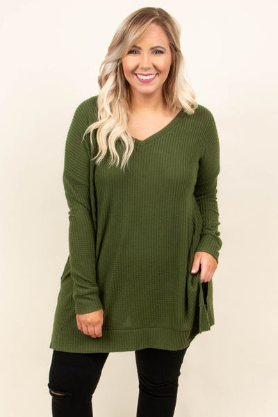 tunic, long sleeve, vneck, ribbed, long, side slit, flowy, green, solid, comfy, fall, winter