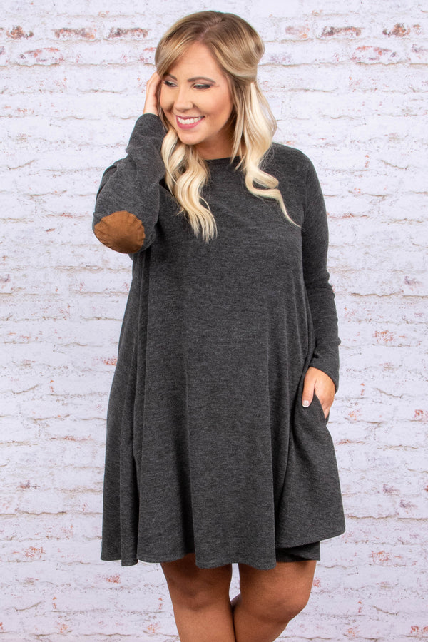 dress, short, long sleeves, elbow patches, gray, solid, pockets, flowy, comfy