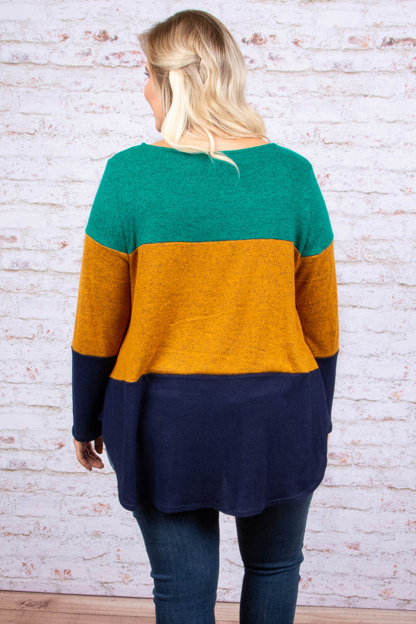 shirt, long sleeve, tie front, longer back, emerald, mustard, navy, colorblock, comfy, fall, winter