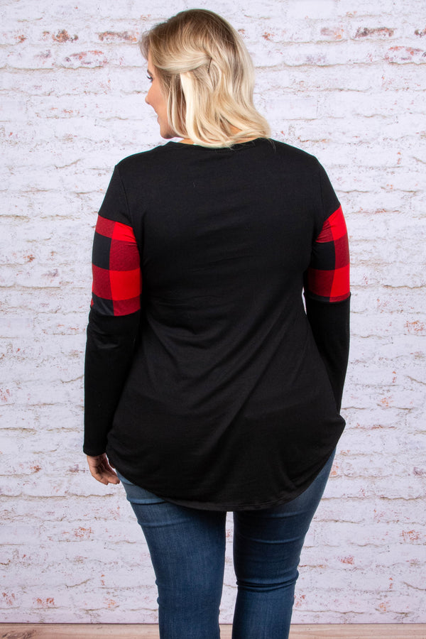 shirt, long sleeves, curved hem, fitted, black, red, plaid, colorblock, comfy, fall, winter