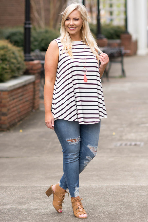 top, tank top, white, black striped, summer, spring, flowy