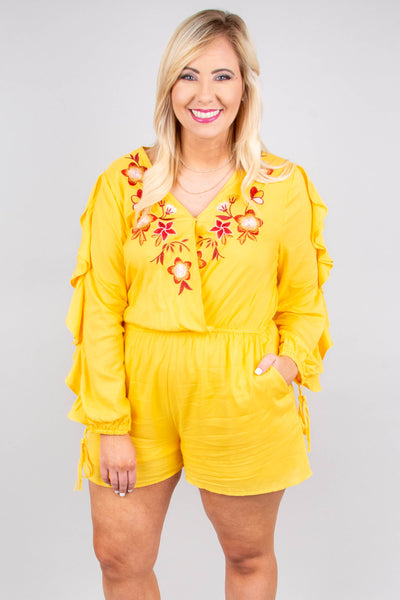 romper, long sleeve, short, yellow, v neck, embroidery, red, pockets, ruffle