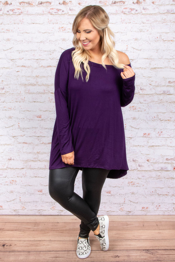 top, tunic, purple, eggplant, solid, long sleeve, off the shoulder, off shoulder, comfy