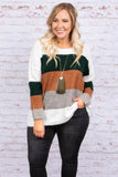 sweater, long sleeve, loose, comfy, fuzzy, white, green, mocha, gray, colorblock, fall, winter