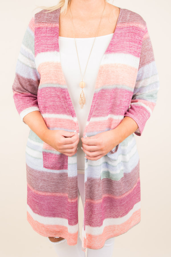 Easy Days Ahead Cardigan, Magenta