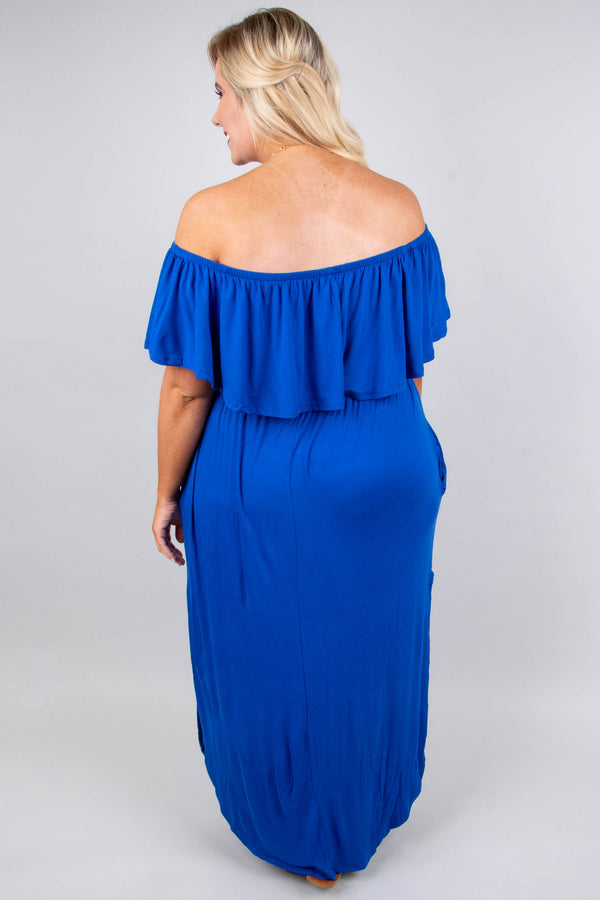 dress, maxi, off the shoulder, pockets, ruffle top, flowy skirt, high slit, cobalt, solid, comfy