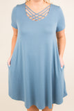 dress, short, short sleeve, scoop neck, crisscross neckline, pockets, flowy, curved hem, blue, comfy