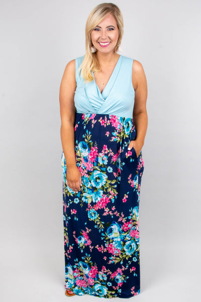 So Blooming Cute Maxi Dress, Aqua