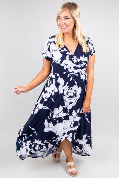 Significantly Sweet Maxi Dress, Navy-Off White