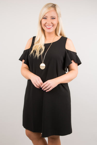 dress, short sleeve, off the shoulder, ruffle sleeve, flowy, black