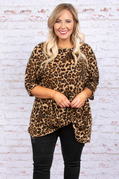 shirt, three quarter sleeve, twisted hem, long, brown, leopard, comfy, fall, winter