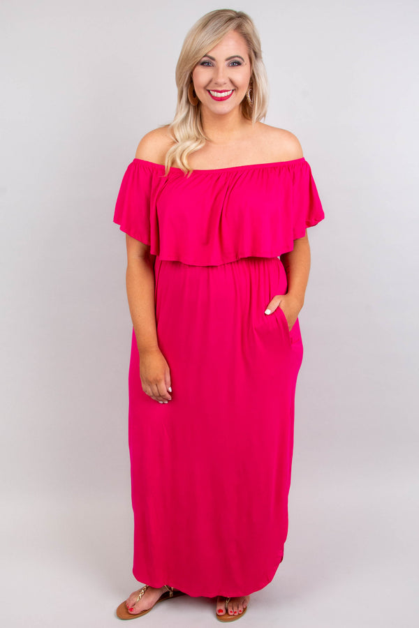 dress, maxi, off the shoulder, pockets, ruffle top, flowy skirt, high slit, fuchsia, solid, comfy