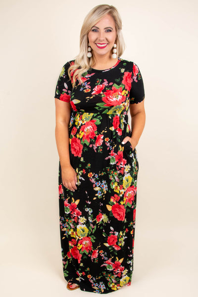 April Showers Maxi Dress, Black-Red