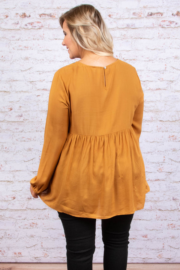 Southern Blooms Top, Mustard
