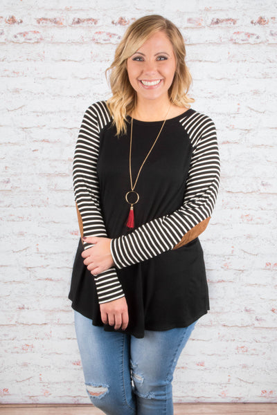 shirt, long sleeve, elbow patches, long, flowy, curved hem, black, striped sleeves, white, comfy, fall, winter