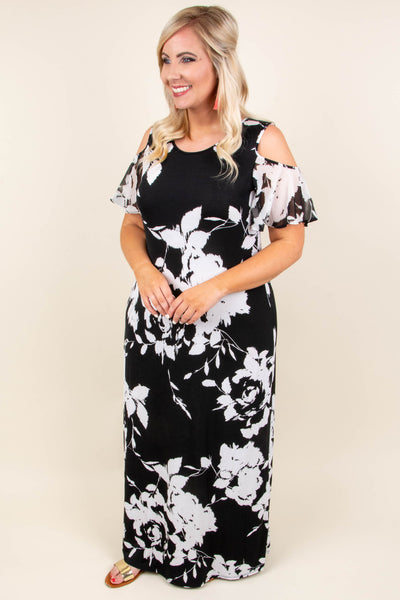 Figure You Out Maxi Dress, Black-Off White