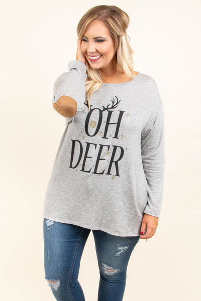 Oh Deer Christmas Is Here Tee, Heather Gray