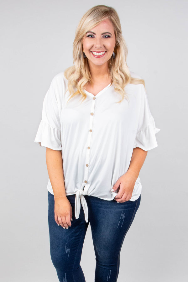 shirt, short sleeve, ruffle sleeves, vneck, button down, tie hem, longer back, loose, white, comfy